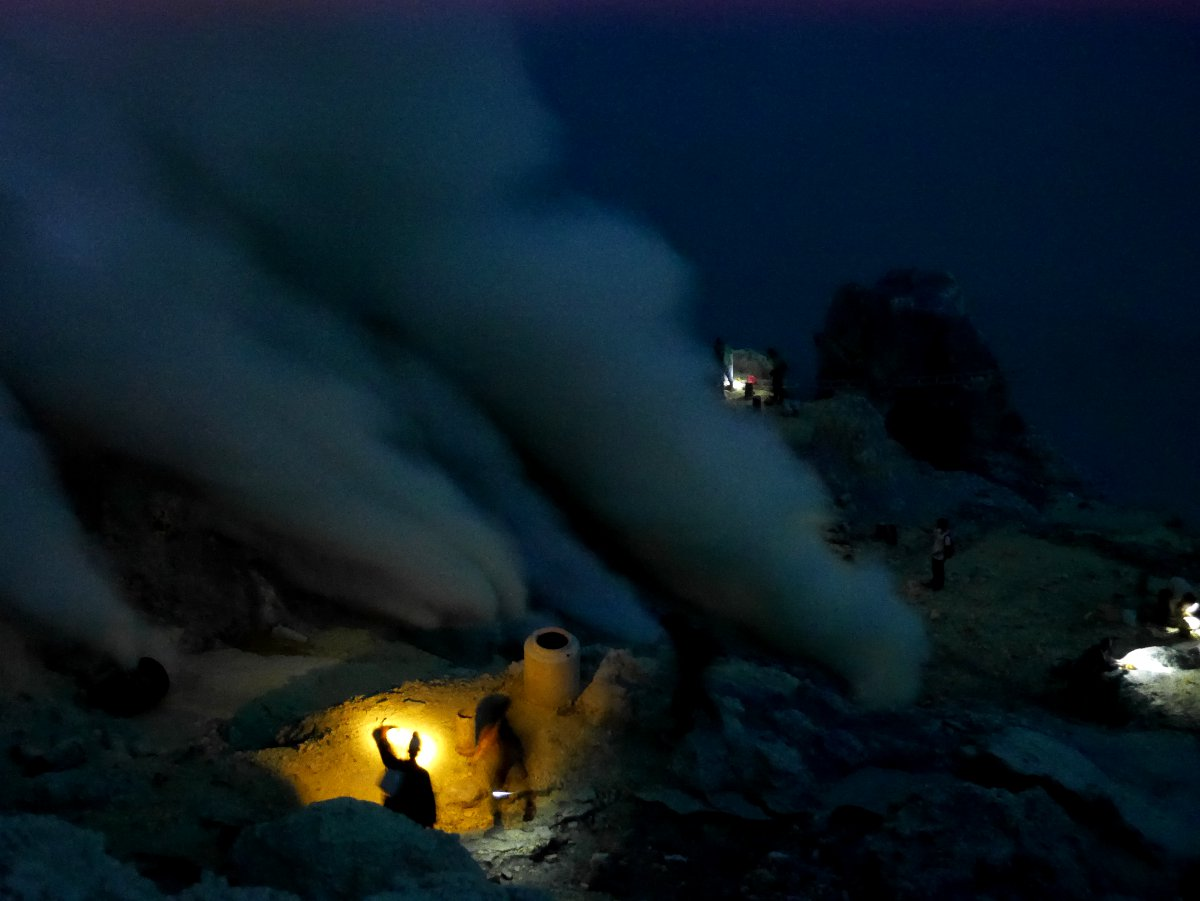 Miners at work Ijen Volcano Java Double-Barrelled Travel