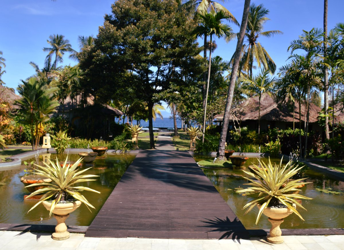 Nirwana Resort and Spa Candidasa boardwalk entrance Double-Barrelled Travel