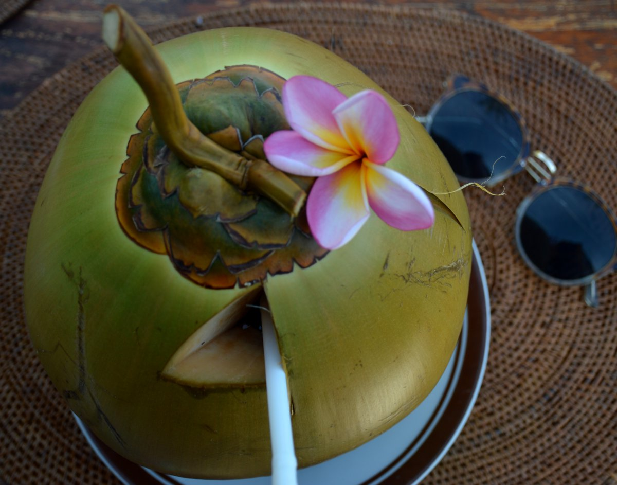 Nirwana Resort and Spa Candidasa fresh coconut from verandah Double-Barrelled Travel