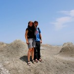 Ania and Jon in the desert in Azerbaijan