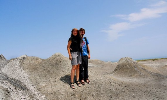 Ania and Jon in the desert in Azerbaijan