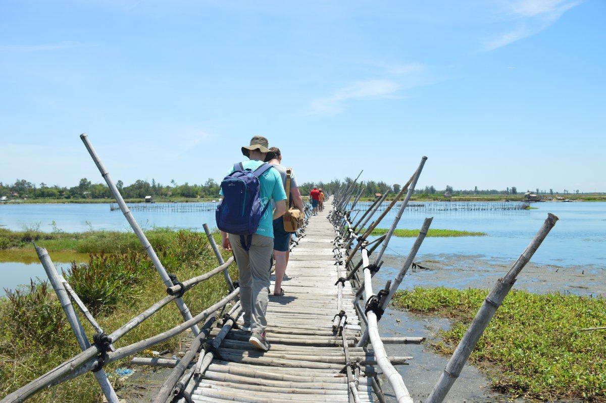 Vietnam Vespa Adventures crossing bamboo bridge Double-Barrelled Travel