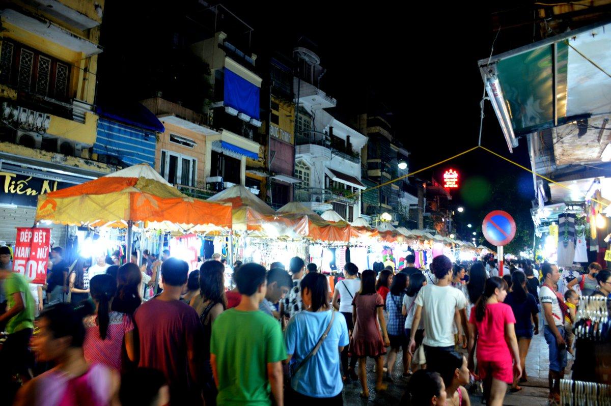 Hanoi night market Double-Barrelled Travel