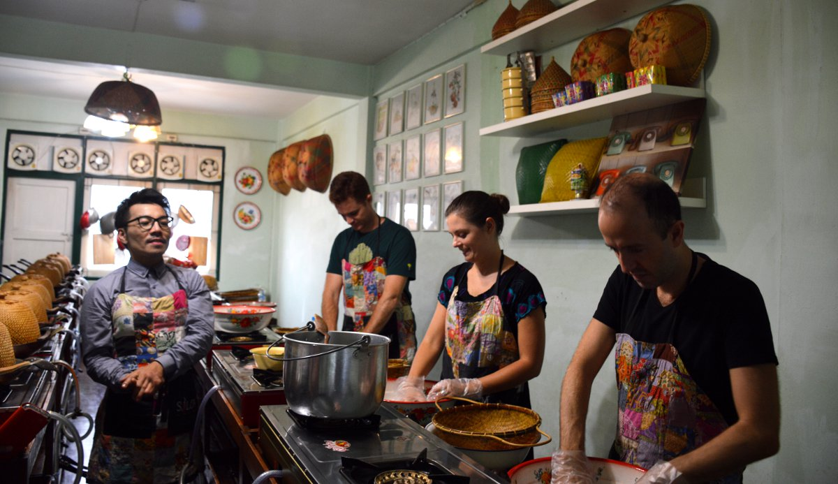 Students Silom Cooking School Double-Barrelled Travel