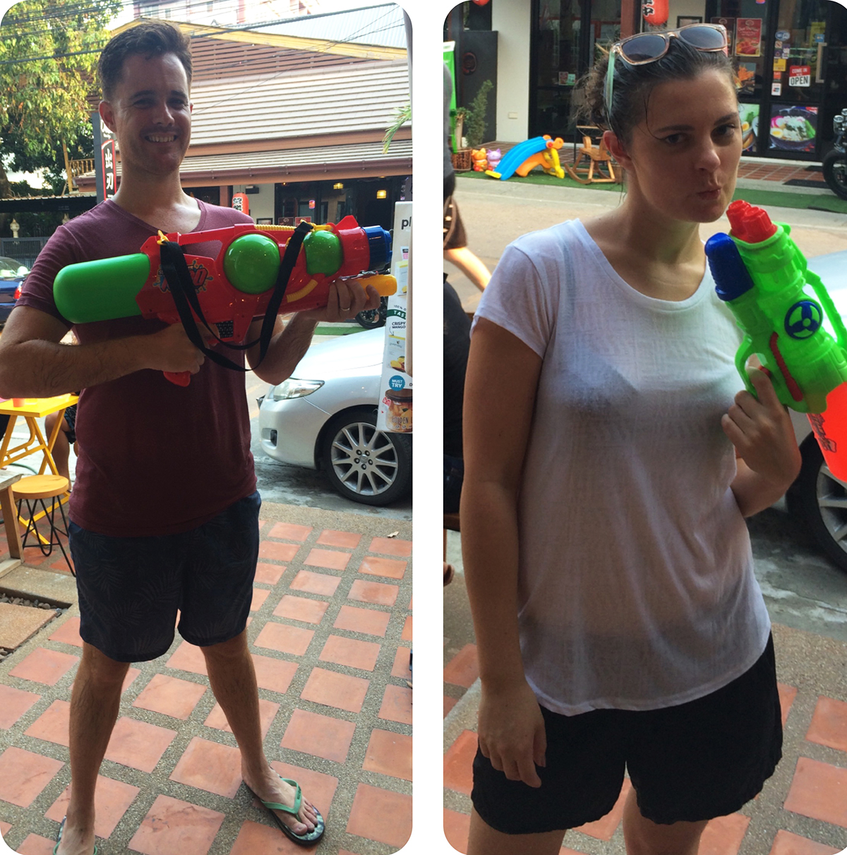 Carmen and Dave Songkran Thai Water Festival Double-Barrelled Travel