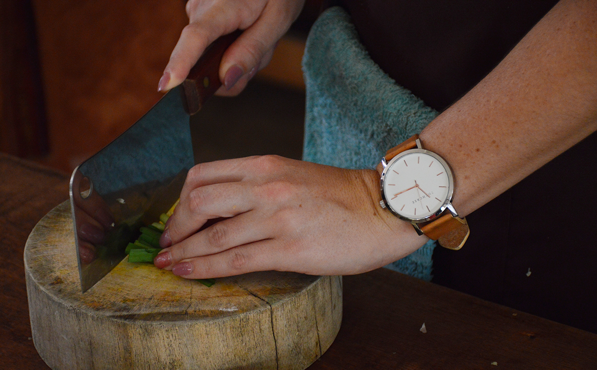 Chopping ingredients Asia Scenic cooking school Double-Barrelled Travel