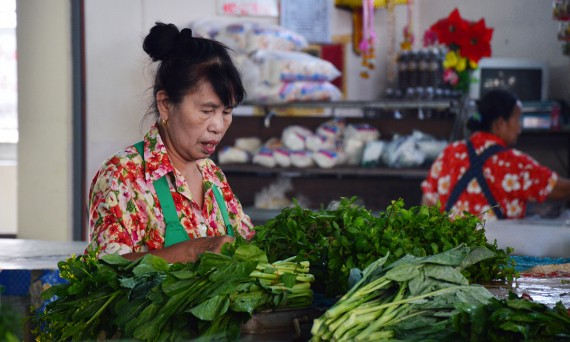 Lady at market Asia Scenic cooking school Double-Barrelled Travel