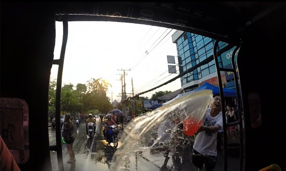 Songkran water fight Thai Water Festival Double-Barrelled Travel