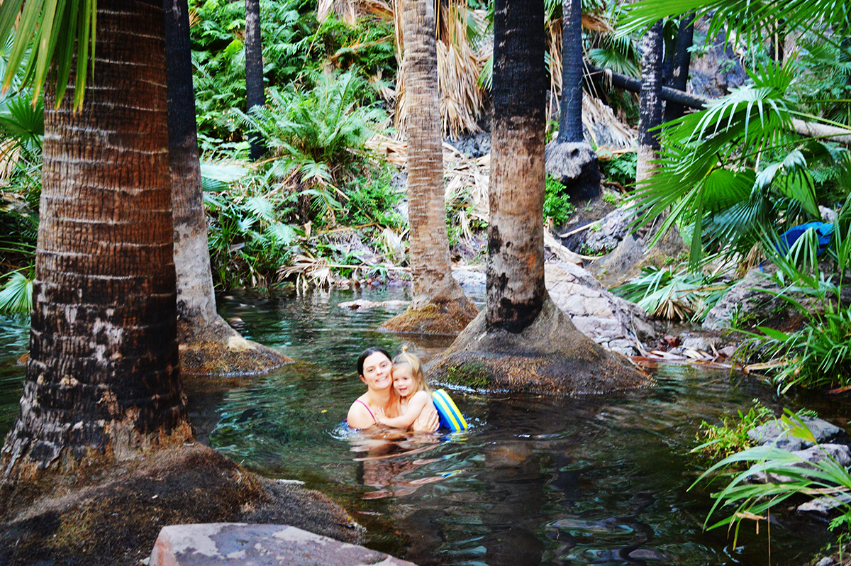 Zebedee Springs with toddler El Questro Double-Barrelled Travel